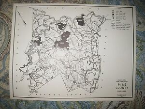 ANTIQUE 1961 PIKE COUNTY MILFORD PENNSYLVANIA HUNTING FISHING MAP HIGHWAY RareNR