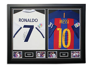 Cristiano Ronaldo & Lionel Messi 20162017 Signed Dual Framed Shirts Display