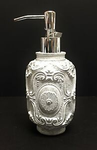 NEW 3D VICTORIAN WHITE+SILVER RESIN SOAP,LOTION KITCHEN,BATHROOM DISPENSER