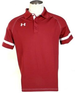 Under Armour Moisture Wicking Burgundy & White Short Sleeve Polo Shirt Mens NWT