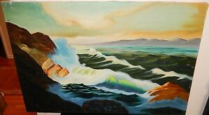 LARGE OIL ON CANVAS SEASCAPE PAINTING SIGNED $150.00