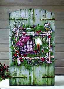 New Cottage Green Winter BIRD WREATH RUSTIC SHUTTER Candle LIGHTED Picture