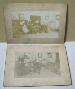 Antique Photographs of Family Gathered in Parlor of Home T* $45.00