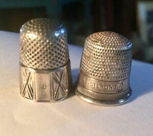 2 Antique Thimbles 1 Sterling The Other Paneled And Incised unmarked Sterling