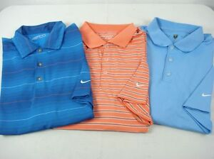 Lot of 3 NIKE GOLF Polo Shirts Dry Fit Assorted Colors sz M 7-83