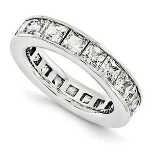 14k White Gold Princess Cut Eternity Design Band Ring 3.80ct GVS1 Made to Order