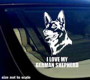 I love my German Shepherd Decal Sticker Car Window Bumper GSD 12quot; Inches