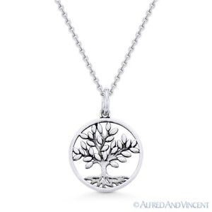 Antique-Finish Tree-of-Life Charm .925 Sterling Silver Pendant & Chain Necklace