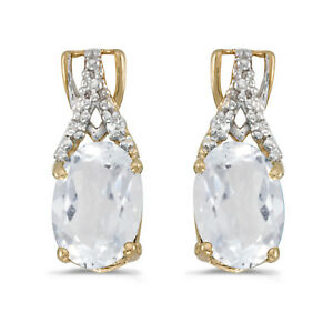 14k Yellow Gold Oval White Topaz And Diamond Earrings