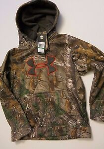 Under Armour Boy's YL L Long Sleeve Hooded Sweatshirt Camo Realtree Hoodie