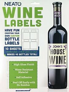 Wine Bottle Labels - Works With Inkjet Printers, Perfect for Home Wine Making