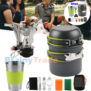 Outdoor Camping Cookware Stove w Stainless Steel Cup Backpacking Picnic Hiking