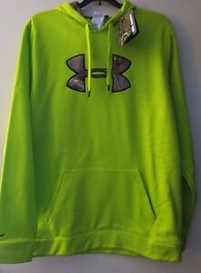 NWT Under Armour Men's XLT XL Tall Hooded Sweatshirt Realtree Storm Camo Neon