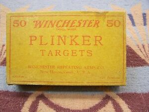 RARE VINTAGE ORIGINAL FULL BOX WINCHESTER 22CAL WOOD PLINKER TARGETS 50ct SHELL