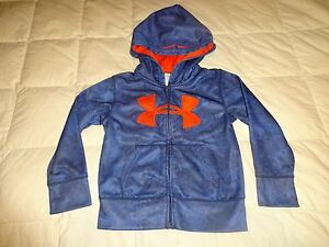 Boys Under Armour Hoodie Sweatshirt size 4T Blue and Orange