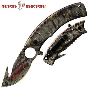 NEW Camo Hunting Gut Hook amp; Skinner Pocket Knife Assisted Opening