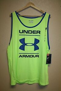 NEW! Mens Under Armour Neon Yellow big UA logo Loose fit TANK TOP 2XL  XXL