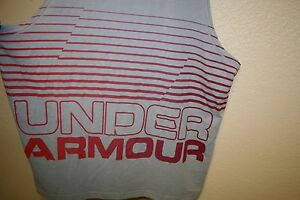 NEW! Mens Under Armour Gray Gradient Graphic Logo TANK TOP Loose Fit T-Shirt XL