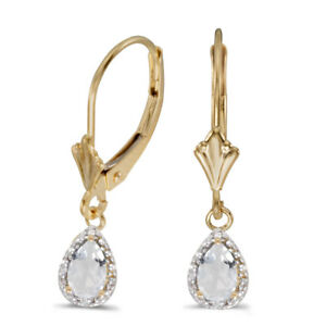 10k Yellow Gold Pear White Topaz And Diamond Leverback Earrings