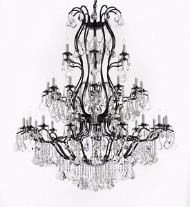 Large Foyer/Entryway Wrought Iron Chandelier Lighting W/Crystal H60
