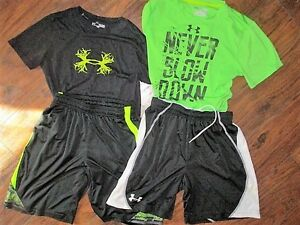 4 pc lot boys sz YLG youth large Under Armour shirts & shorts Black lime green