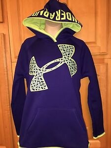 NWT Girl's UNDER ARMOUR STORM Big Logo Hoodie Blue & Green YLG $44.99