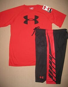 NWT UNDER ARMOUR BOY'S ATHLETIC SHORTS AND SHORT SLEEVE SHIRT SZ XL 18