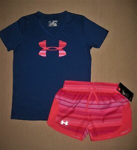 NWT UNDER ARMOUR GIRL'S ATHLETIC SHORTS AND MATCHING TOP SZ M