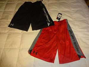 NEW Lot of 2: Boys UNDER ARMOUR Shorts MediumYMD Red Printed
