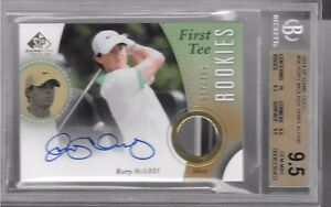 RORY MCILROY 2014 SP GAME USED AUTO SHIRT BGS 9.5 FIRST TEE RC