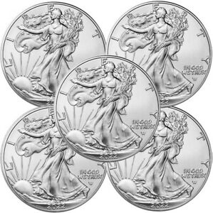Lot of 5 2020 American Eagle Coins 1 oz .999 Fine Silver