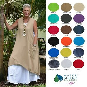 WATERSISTER Cotton Gauze BOBBI Long Layering Vest Top OS (MLXL1X+)2018 COLORS
