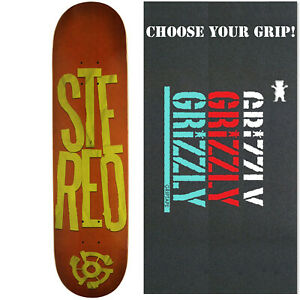 STEREO Skateboard Deck STACKED LOGO REDGREEN 7.75 with GRIZZLY GRIPTAPE