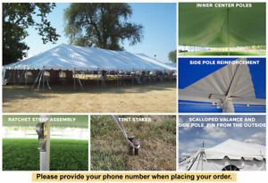 30x120 White Vinyl Classic Pole Tent for Wedding Outdoor Event Party Catering