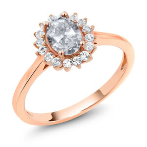 10K Rose Gold 1.19 Ct Oval White Topaz White Created Sapphire Ring