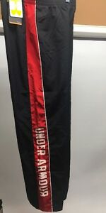 Under Armour Boys LARGE Dri-Fit Pants Black Red Stripe Mesh Lined NWT