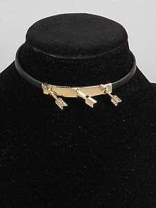 Betsey Johnson Gold HEARTS AND ARROWS Black Leather Tie Back Choker Necklace $42