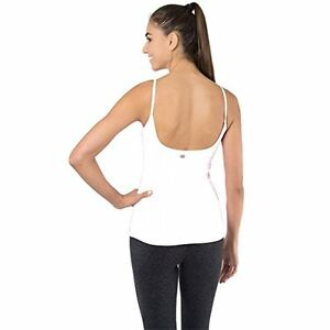 Yoga Workout Tank Top Built In Bra Large White Womens Yoga Shirt New