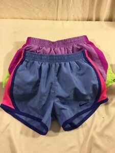 2 Nike Little Girls Dri Fit Lined Running Shorts  Sz 6X Blue Pink Excellent