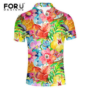 Men's Polo Shirt Customer Golf Dry Fit Short Sleeve Foral Tops Party T-shirts XL