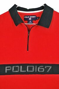 MENS xl VTG Polo Sport 67 12 Zip Shirt Pullover Spellout Rugby Red Black