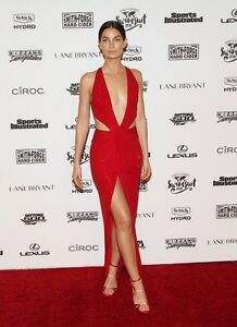 Alexandre Vauthier Deep V-Plunge Crystal CUTOUT RED Waist Gown
