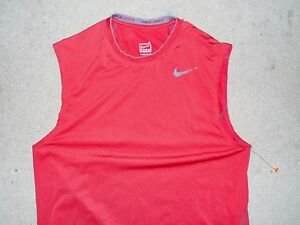 NIKE PRO FIT DRY MEN'S SLEEVELESS SHIRT RED GRAY SMALL USED POLYESTER