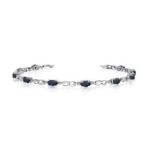 10K White Gold Oval Sapphire and Diamond Link Bracelet