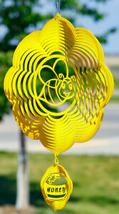 SWEN Products BUMBLE BEE INSECT YELLOW Swirly COMBO Metal Wind Spinner