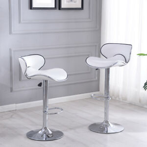 2 Pcs White Modern Bar Stool Adjustable Height Swivel Counter Pub Chair Barstool $99.99