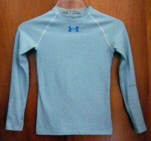 UNDER ARMOUR light blue longsleeves youth medium dry-fit athletic shirt elastane