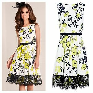 Kaleidoscope Size 14 Simply Fab Black White Lime Fit Flare Occasion DRESS £85