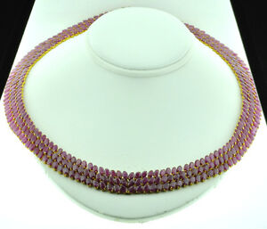 83.00 ct 14k Solid Yellow gold Natural Ruby Necklace choker $40000 58.4grams