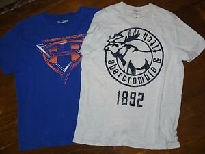 Lot of 2 shirts for boys Under Armour and A&F Abercrombie Fitch short sleeve XL